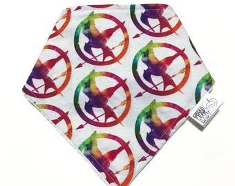 READY TO SHIP Mockingjay baby bib - Hunger Games baby bib - Mockingjay bandana bib - watercolor baby bib