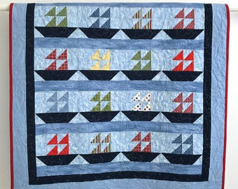Modern Pieced Baby Boy Nautical Quilt Featuring Colorful Sailboats Shades of Blue Red Yellow Green