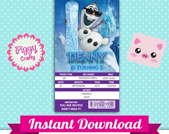 Olaf 001 Invitation Ticket Editable Text in PowerPoint English and Spanish
