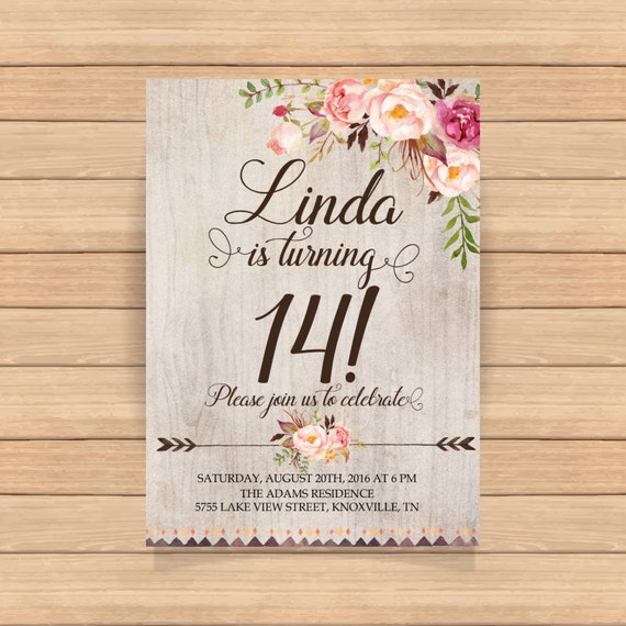 14th birthday invitation Fourteenth birthday Arrows flowers