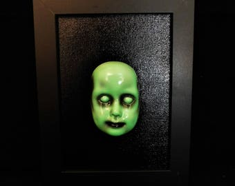 OOAK Original 5x7 Green Dead Doll Face Painting with Frame