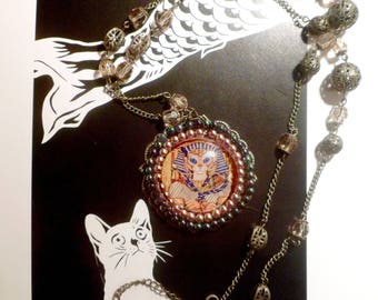 large baroque necklace with round and cat portrait: my cat, Pharaoh