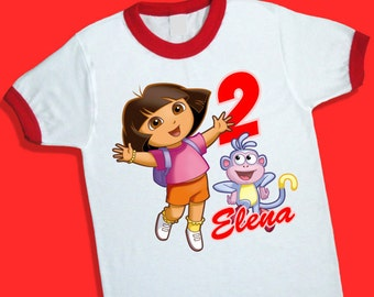 Dora the Explorer Birthday Ringer Tee. Personalized Birthday Shirt with Name and Age. 1st 2nd 3rd 4th 5th 6th 7th Birthday T Shirt. (25026)