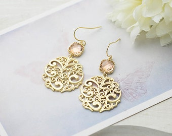 Peach Earrings Peach Champagne Wedding Jewelry Gold Paisley Filigree Earrings Bridal Earrings Bridesmaid Earrings Gift