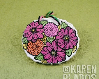 Doodlicious Floral Oval Porcelain Wall Plaque