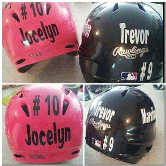 Football Baseball Helmet Decal DIY Home Mom Team Number - Pink motorcycle helmet decals
