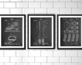 Ice Hockey Patent Poster Group of 3, Hockey Stick, Hockey Decor, Ice Skate, Hockey Puck, Hockey Wall Art, PP1164