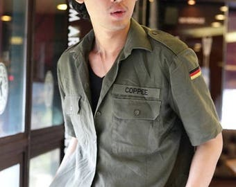 Vintage 1980s German army short sleeve olive  military shirt khaki jacket Bundeswehr