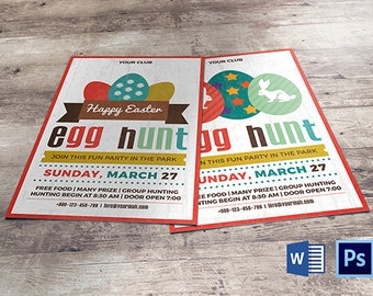 Easter Egg Hunt Party Invitation Template | Easter Flyer | Instant download File