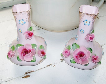 Vintage Bud Vases Pink Lefton China Set of 2 Hand Painted Applied Pink Roses Spring Decor