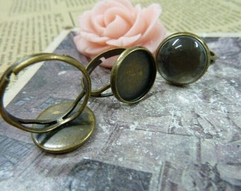 5pcs Antique Bronze Cameo Cab Bezel Setting Frame fit 12mm Cabochon Setting, Adjustable Ring Setting, Bezel Setting