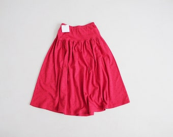 red and black polka dot skirt | sweatshirt skirt | full red skirt