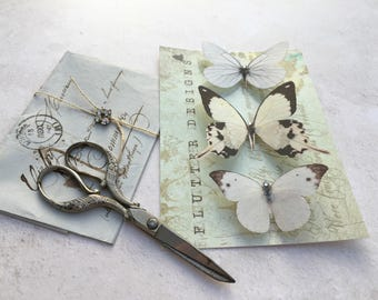 Beautiful silk butterfly hair clips with Swarovski Crystals. Set of three whites.