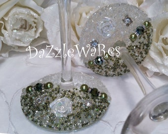 WINE- ROSES Beaded Glasses Set of 2 -Hand Beaded-Gift-Special Occassion-Hostess Gift-Wedding-Birthday-Anniversary-Home Decor-Gifts for Mom