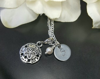 Initial Sand Dollar Beach Necklace, Many Colors Available, Destination Wedding Jewelry, Beach Wedding Gifts, Custom Letter Initial Monogram