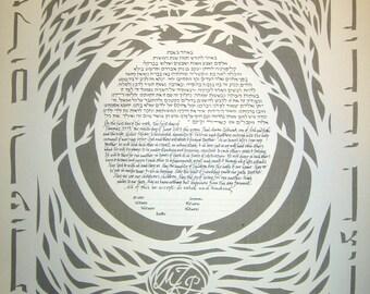 Blessings Papercut Ketubah on Slate Gray background
