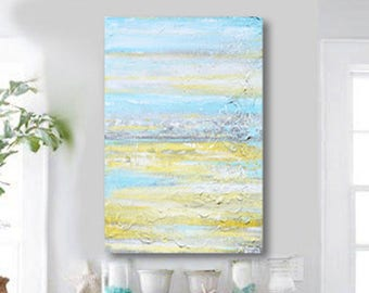 ORIGINAL Art Abstract Painting Yellow Grey Aqua Wall Art Acrylic Painting Wall Decor Home Decor Modern Art Textured Coastal Gold - Christine