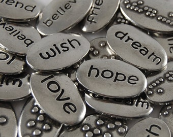 Inspirational Word Pebbles  - Set of 25 (Mixed Words)- FREE US SHIPPING