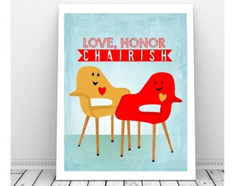 Love Art, Love Artwork, Couples Art, Digital Print, Instant Download Art, Funny Love, Mid Century Chair, Funny Wedding Sign, Wedding Art