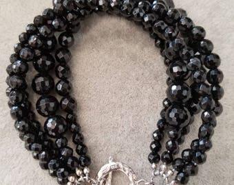 Bracelet, black onyx, multi strands,