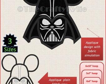 DARTH VADER Star Wars Machine Embroidery Applique Designs 4x4 5x7 6x10 hoop