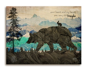 Bear art print, wood art, friendship quote, silhouette, mountains, black, blue and turquoise, quote, inspirational