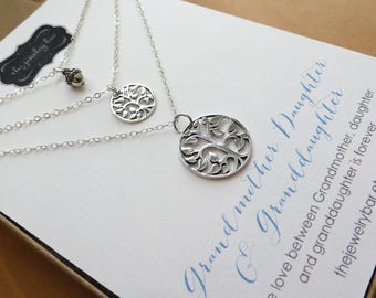 Generations jewelry, tree of life necklace, acorn set, Grandmother, Mother daughter, sterling silver, gift for Grandma, mom, granddaughter