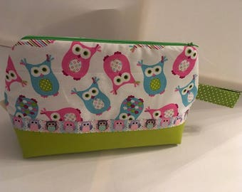 Toilet bag patterned OWL cotton and faux leather