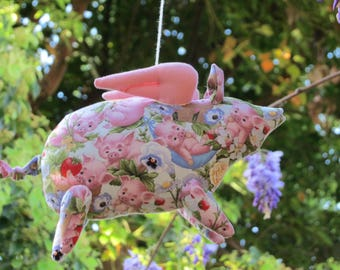 Plush pig cute toy Stuffed flying pig toy softie plushie piggy pink handmade soft toy child friendly gift for birthday get well & cheer up