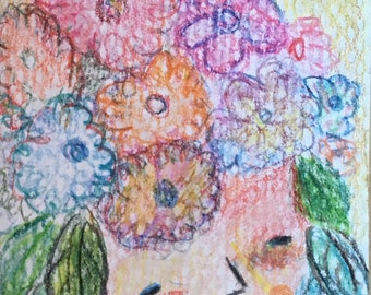 Original ACEO Watercolor Painting: Floral Girl