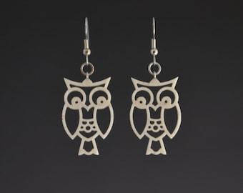 Owl Corian Earrings - Recycled Earrings Pierced Earrings Dangle Earrings Upcycled Jewelry Recycled Jewelry Mark Noll