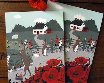 Lot de 2 cartes Lapins dans le jardin
