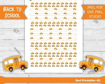 SCHOOL BUS Stickers, School Bus Planner Stickers, Printable Planner Stickers, School Bus Time Planner Stickers, Studio cutfiles, ALL-29