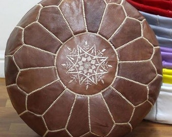 PREMIUM Genuine Leather Moroccan Pouf Pouffe - WALNUT