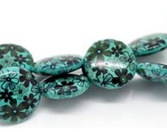 1 puck pattern blue stone 5 25 mm flower bead
