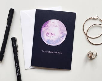To the Moon and Back Greetings Card