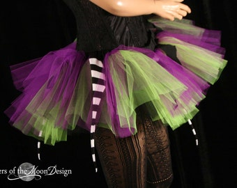 Witch Chick tutu mini micro skirt Peek a boo gogo dance halloween gothic purple green pirate - You Choose Size - Sisters of the Moon