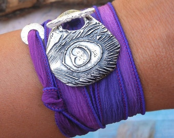 Cool Jewelry Gift, Unique Bracelet Gift, Cool Silk Wrap Bracelet Unique Gift for Women