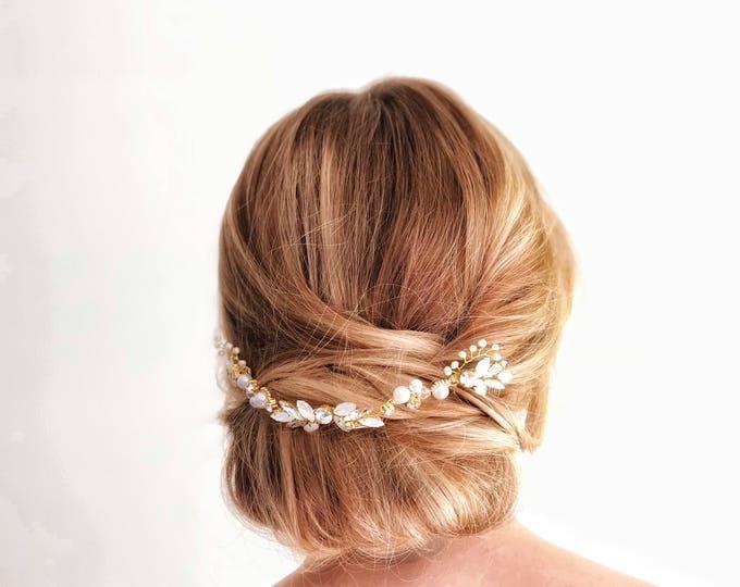 Hair Jewelry, Updo Headpiece, Bridal Hair Vine, Wedding Hair Comb, Draped Bridal Headpiece, Opal hair piece, Gold Wedding Hairpiece