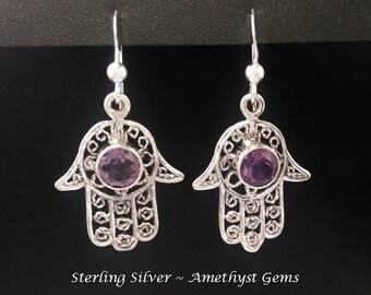 Sterling Silver Earrings: Beautiful Handmade Earrings with Amethyst Gemstones, Hand of God Design | Silver Earrings, Dangle Earrings 251