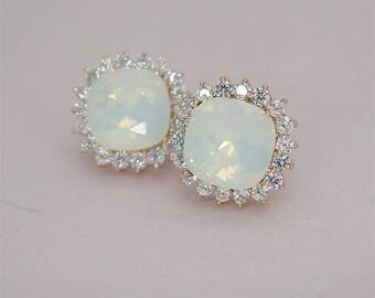 Opal Bridal EArrings Stud Earrings Swarovski Crystal EArrings rose gold Wedding Jewelry Bridesmaid Gifts Silver Tone or Yellow Gold