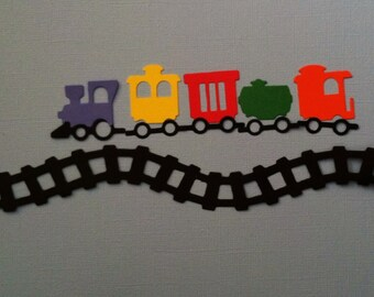 Railroad Train With Track Border Die Cut