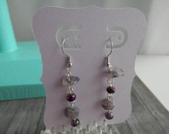 VIOLET et boucles d'oreilles cristal métal argenté et boucles d'oreilles en pierre