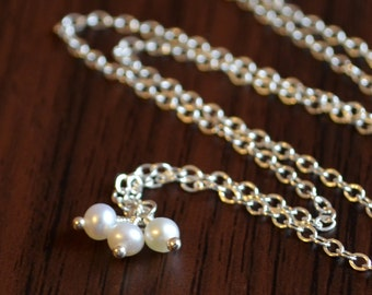 Pearl Jewelry, Genuine June Birthstone Necklace, Ivory White Freshwater Trio, Adjustable, Wire Wrapped, Sterling Silver