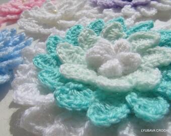 Crochet Flower PATTERN, 3d Flowers, DIY Big Flower Applique, Crochet Gift For Her, Instant Download, PDF Pattern #21, Lyubava Crochet