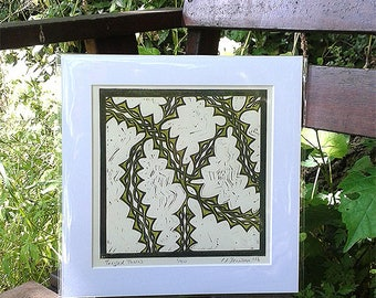 Tangled Thorns - limited edition reduction lino print