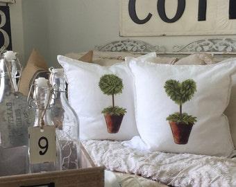 Boxwood Pillow | Topiary Pillow | Pillow Cover | Farmhouse Decor | Cottage Decor | Cottage Pillows