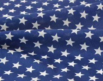 Smooth silky cotton batiste fabric stars white background Navy x 50cm