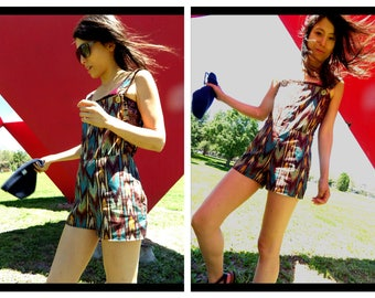 Lawless Revolution Overall Shorts with Native American Textile and Foreign Coin Buttons/Gypsy/Bohemian Closet/ Nomad/Psychedelic Shaman Chic