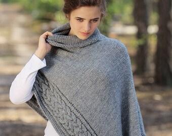 Cape Women Poncho Sweater Knit Poncho Cape Knit Poncho Wool Shawl Warm Hand Knit Poncho Knitted Shawl Wool Poncho Cape Wrap Poncho Wrap Knit